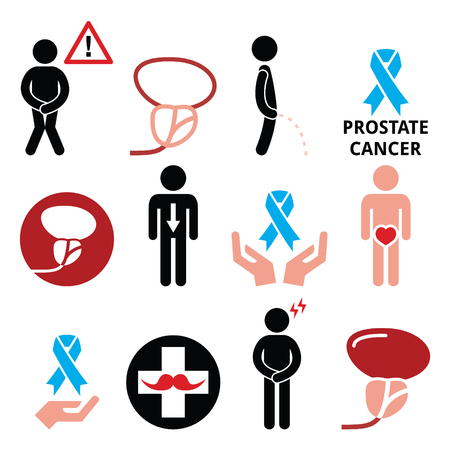 Prostate cancer awareness, men's health icons set Vector Illustration