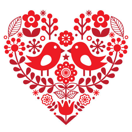 Valentines Day folk pattern with birds and flowers - Finnish inspired