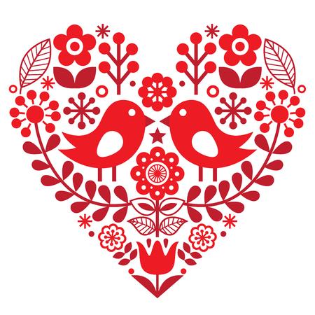 Walentynki wzór folk z ptaków i kwiatów - Fiński natchnionym Ilustracje wektorowe
