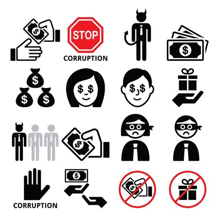 corrupted: Corruption, no bribes and presents, corrupted businessman icons set