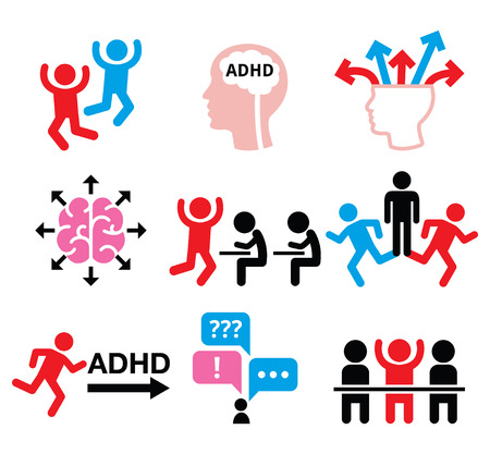 hyperactive: ADHD - Attention deficit hyperactivity disorder vector icons set