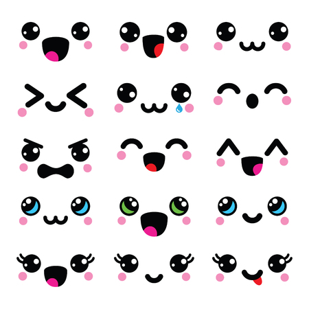 cute faces,  emoticons, adorable characters design 矢�图�