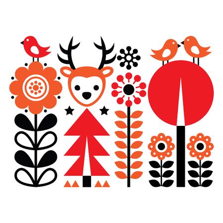scandinavian: folk art pattern - Scandinavian, Nordic style with flowers and animals