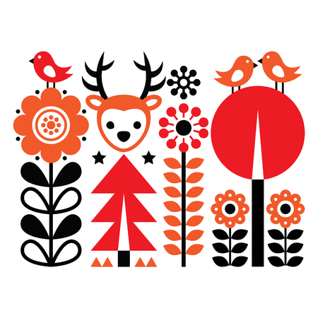 folk art pattern - Scandinavian, Nordic style with flowers and animals