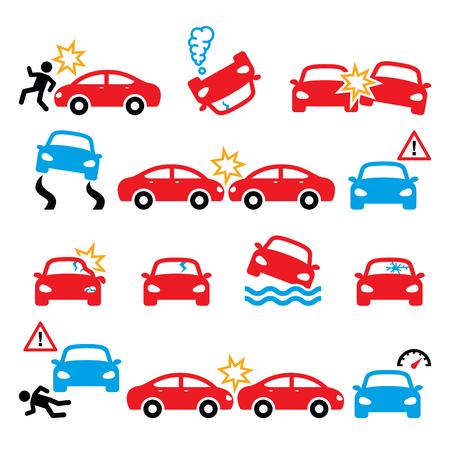交通事故、自動車事故、人身傷害のベクトル アイコンを設定