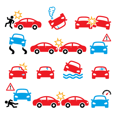 Road accident, car crash, personal injury vector icons set Illustration