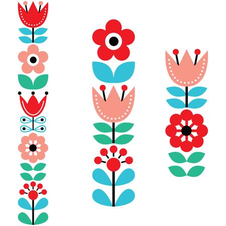 scandinavian: long folk art pattern - Nordic, Scandinavian style