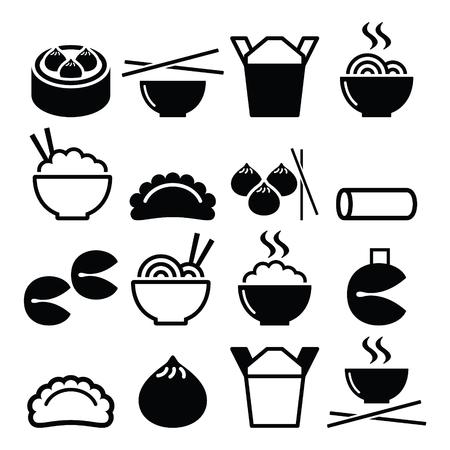 Chinese takeaway food - pasta, rice, spring rolls, fortune cookies, dumplings