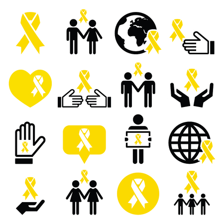 adoptive: Yellow ribbon icons - suicide prevention, support for troops, adoptive parents symbol