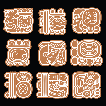 ancient civilization: Mayan glyphs, writing system and languge vector design in brown