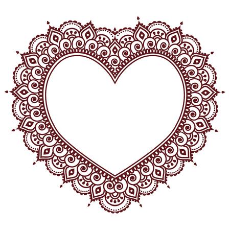 arabesco: Día de San Valentín grettings tarjeta con corazón Mehndi, Indian henna tattoo pattern Vectores