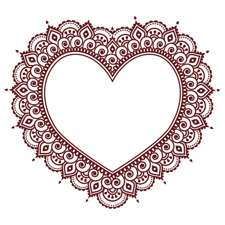 Valentines Day grettings card with heart Mehndi, Indian henna tattoo pattern