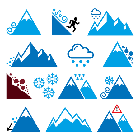 heavy snow: Mountains, avalanche, snowslide- natural disaster icons set
