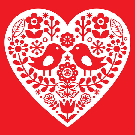 finnish: Valentines Day folk pattern with birds and flowers - Finnish inspired