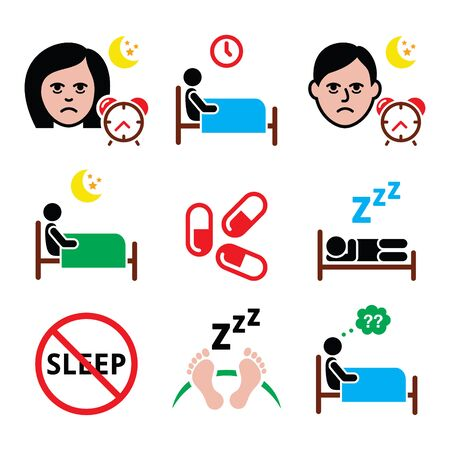sleeping pills: Insomnia, people having trouble with sleeping icons set