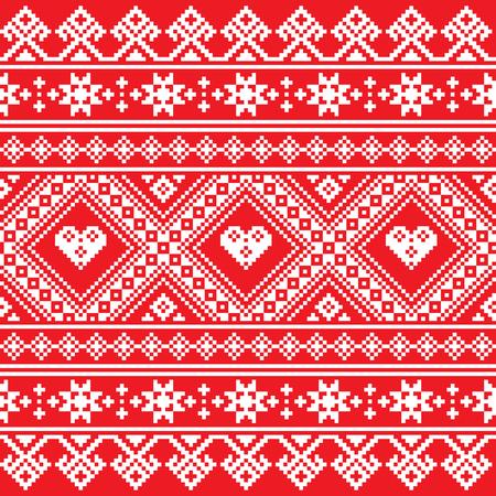 belorussian: Traditional Ukrainian or Belarusian folk art white embroidery pattern on red