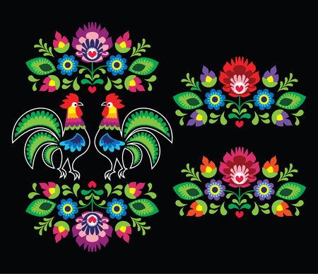 Polish folk art embroidery with roosters - traditional folk pattern