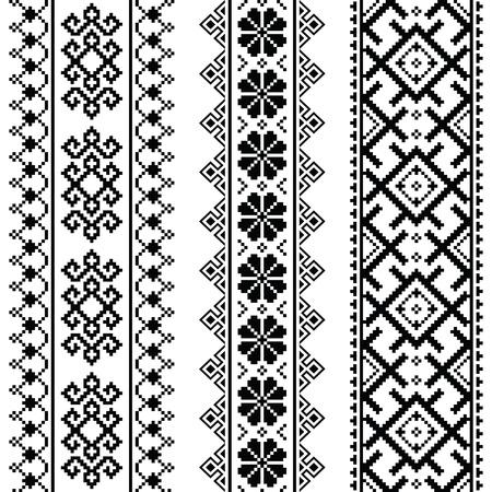 Oekraïens, Wit-zwart borduurwerk naadloze patroon - Vyshyvanka