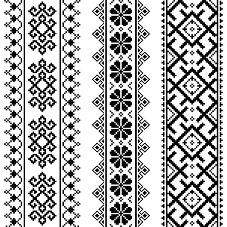 bordados: Ucraniana, bielorrusa sin fisuras patrón de bordado negro - Vyshyvanka
