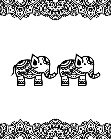 traditional pattern: Mehndi, Indian Henna tattoo design with elephants - greetings card, poster, lace ornament
