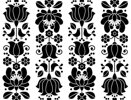 traditional pattern: Seamless floral pattern - Kalocsai embroidery - traditional folk design from Hungary Illustration