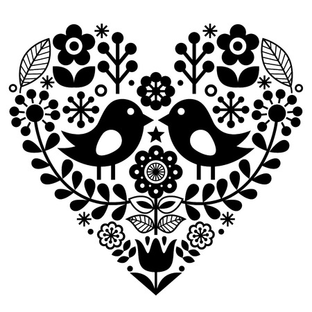 Folk art pattern with birds and flowers - Finnish inspired, Valentines Day
