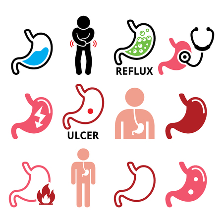 fire in the belly: Stomach disease- reflux, ulcer vector icons set