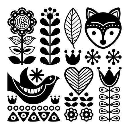 scandinavian: Finnish folk art pattern - Scandinavian, Nordic style, black and white