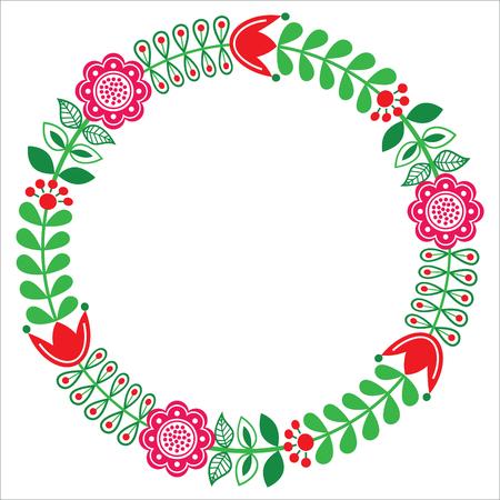 scandinavia: Finnish floral folk art round pattern - Nordic, Scandinavian style