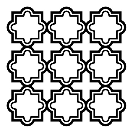 mosaic: Arabic seamless pattern set - Islamic design, black and white geometric art Illustration