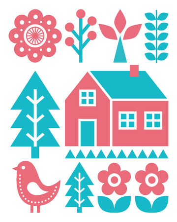 finnish: Finnish inspired folk art pattern - Scandinavian, Nordic style in turquoise and raspberry colour