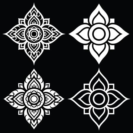 flower shape: Thai white folk art pattern - flower shape Illustration