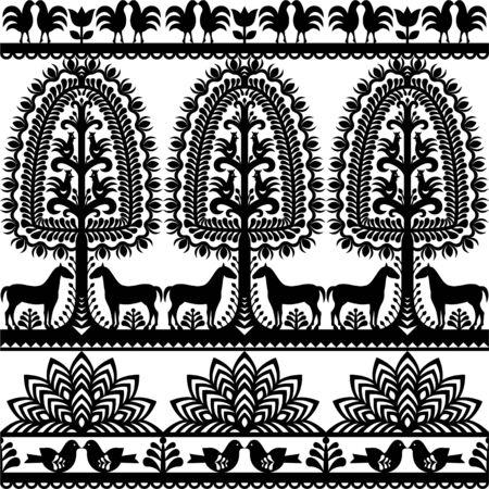 folk village: Seamless floral Polish folk art pattern Wycinanki Kurpiowskie - Kurpie Papercuts