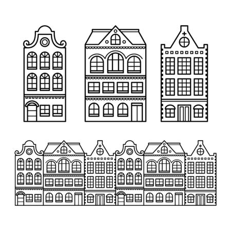 facade: Dutch houses, Amsterdam buildings, Holland or Netherlands archictecture icons