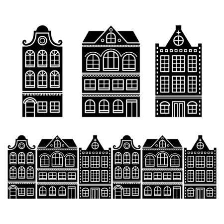 apartment: Amsterdam houses, Dutch buildings, Holland or Netherlands archictecture icons Illustration