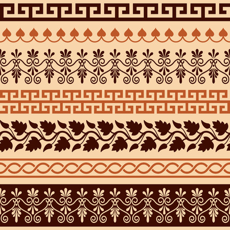 textured backgrounds: Ancient Greek pattern - seamless set of antique borders from Greece Illustration