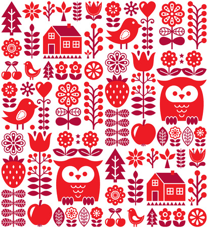 repetition: Scandinavian seamless pattern - red Finnish folk art, Nordic style
