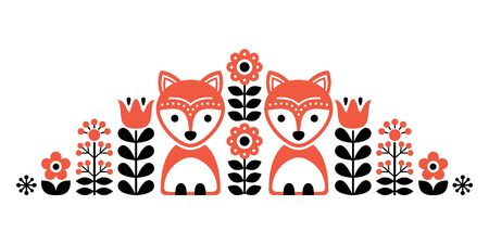 Scandinavian cute folk pattern with fox and flowers - Finnish inspired, Nordic style