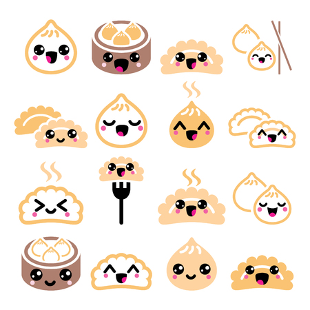Kawaii Chinese dumplings, cute Asian food Dim Sum vector icons set