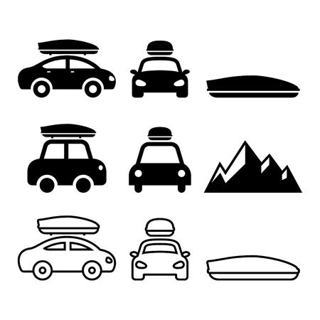 車のルーフ ボックスやルーフラック キャリア ベクトルのアイコンを設定  イラスト・ベクター素材