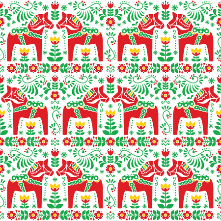 traditional pattern: Seamless Scandinavian folk art pattern, Swedish Dala or Daleclarian horse floral design