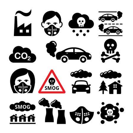 Niebla con humo, conjunto de iconos de contaminación - ecología, concepto de medio ambiente