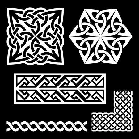 celtic: Celtic Irish and Scottish white patterns - knots, braids, key patterns