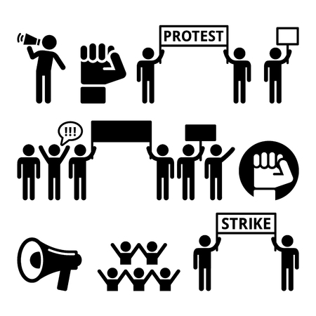 banner of peace: Protest, strike, people demonstrating or fighting for their rights icons set