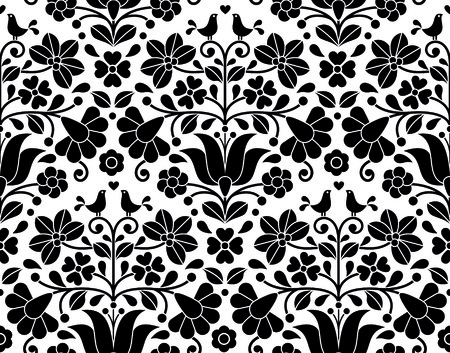traditional pattern: Hungarian folk art seamless background - Kalocsa floral embroidery design Illustration
