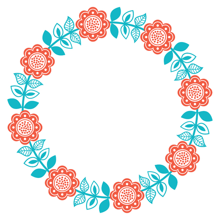traditional pattern: Scandinavian folk art round floral pattern - Finnish, Nordic, style Illustration