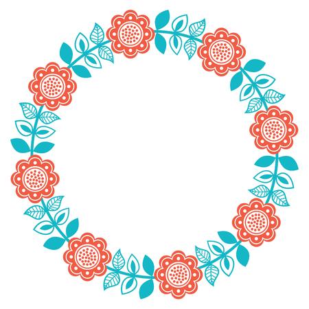 Scandinavian folk art round floral pattern - Finnish, Nordic, style Ilustrace
