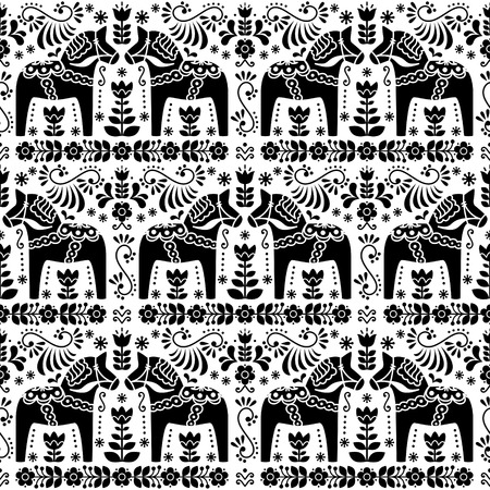 traditional pattern: Seamless Scandinavian Swedish Dala horse floral design