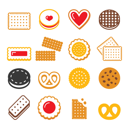 Biscuit, cookie - food, dessert, sweets vector icons set Ilustrace