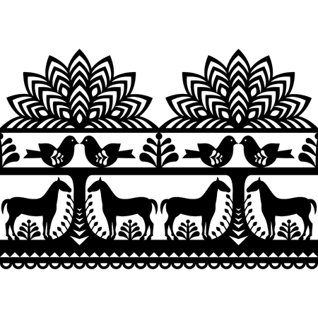 european: Seamless Polish folk art pattern Wycinanki Kurpiowskie - Kurpie Papercuts Illustration